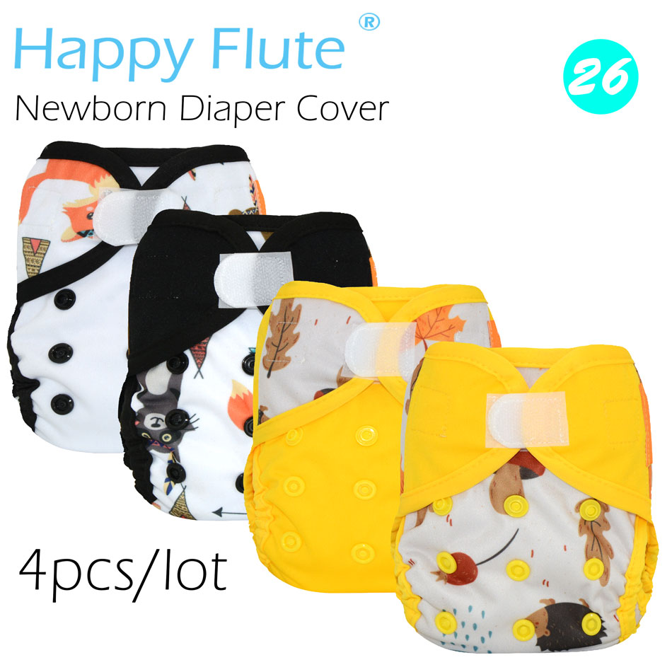 New! (4pcs/lot) Happy Flute newborn diaper cover for NB baby,double leaking guards, waterproof and breathable