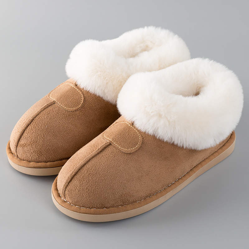 Women's Slippers Winter Plus Size 43-46 Fur Slides Sewing Flat Shoes For Girl Plush Suede Keep Warm Pink Shoes Casual