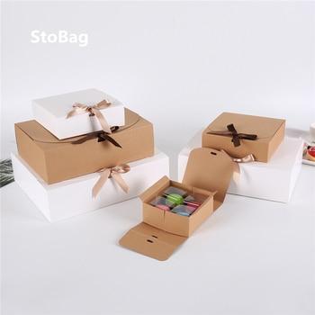StoBag 10pcs Kraft Paepr Baking Cookies Gift Box Packaging Merry Christmas Shirt Packaging Box Birthday Weeding Custom Print