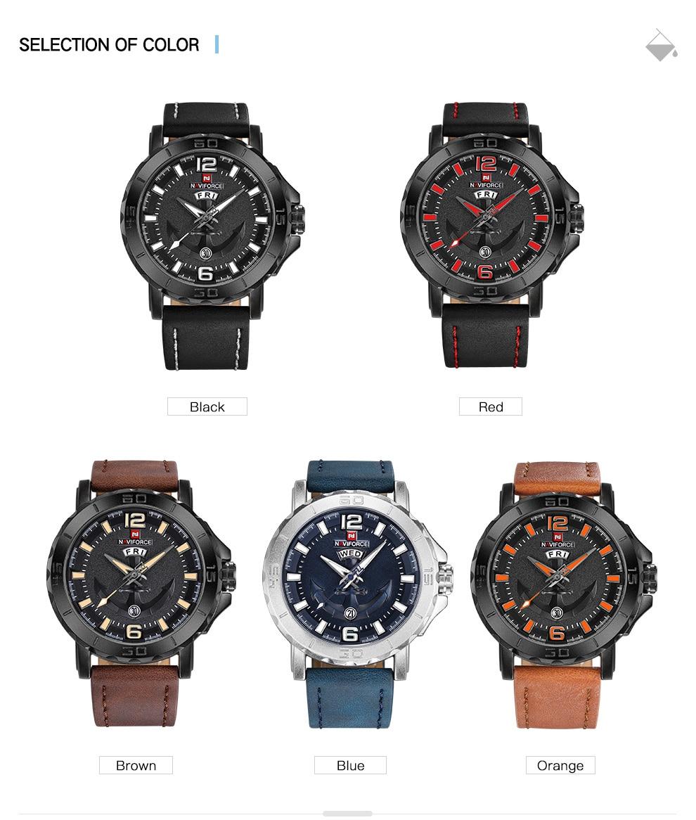 H77418a5145794d318ecd0527185dc488o Top Luxury Brand NAVIFORCE Mens Sport Watches Casual Leather Strap Waterproof Military Quartz WristWatch Clock Male Reloj Hombre