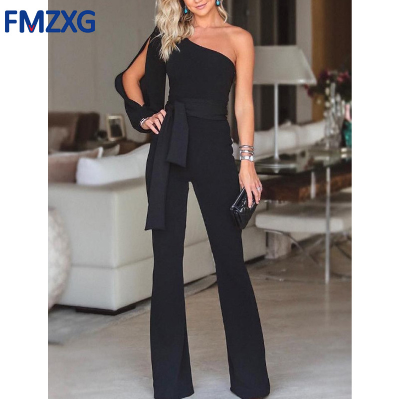Women One Shoulder Long Sleeve Straight Jumpsuit Loose Overalls Pants Women Summer Party White Elegant Soft Workwear Jumpsuits one shoulder jumpsuit with long sleeve