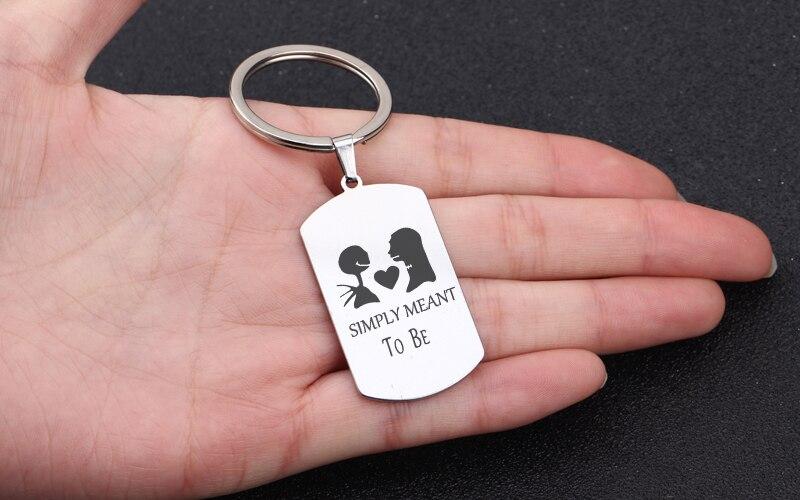 ghost bones set of 2 resin keychain personalized tag Halloween Couple Keychain set swivel clip wrist strap