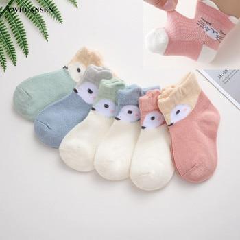 YWHUANSEN 6 Paare/los Nette Cartoon Socken Für Neugeborene Gekämmte Baumwolle Baby Mädchen Socken Sommer Mesh Dünne Socken Für Kleinkind Jungen