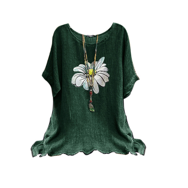 Cotton Women Shirt Harajuku Leisure O Neck Tops Women Vintage Flower Print Shirts New Loose Plus Size Blouses S-5XL Blusas Mujer 6