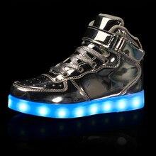 2019 ילדים Led Usb טעינה נעלי זוהר סניקרס ילדי וו לולאה זוהר נעלי בנות בני גברים נשים סקייט LED נעליים