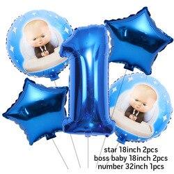 Balões folha de números do bebê, 5 peças boss balão de 30 polegadas 1 2 3 4 5 6st festa de aniversário decoração dos desenhos animados gás