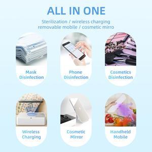Image 2 - LED UV sterilizatör kutusu telefon 10W kablosuz hızlı şarj makyaj aynası temiz sterilizasyon çok fonksiyonlu taşınabilir depolama
