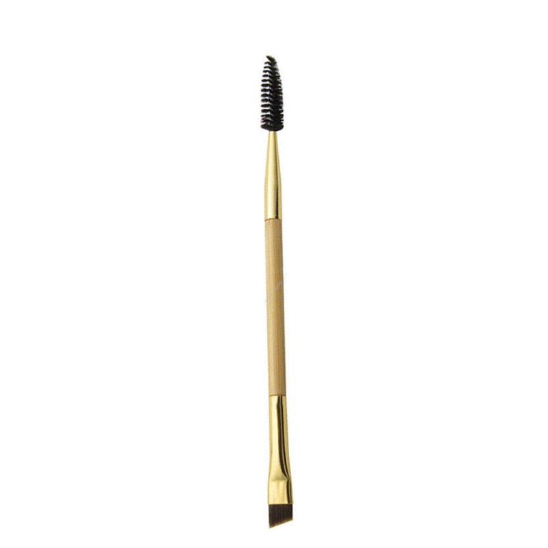 Eyebrow Brush Luxury Golden Double Ended Angled Bamboo Handle Make Up Tools For Make up Professional Eyesbrow Brush in Eye Shadow Applicator from Beauty Health