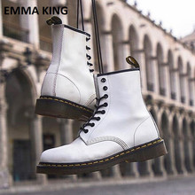 Doc Martin British Ankle Boots Genuine Leather Unisex With Fur Women Warm Ladies Motorcycle for Winter Autumn