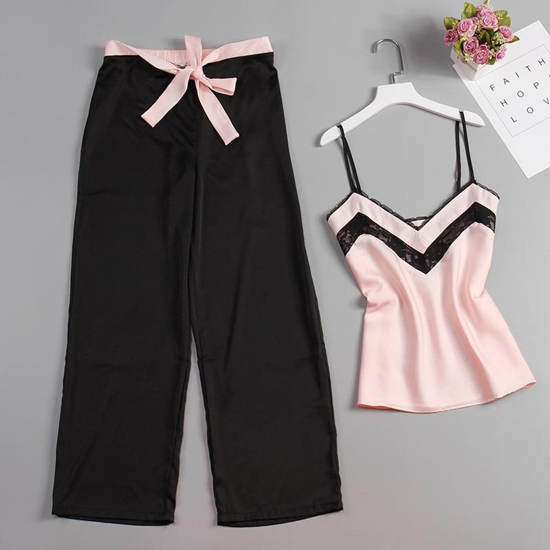 JULY'S SONG 2 Piece Woman Pajamas Set Stain Silk Sexy Sleepwear Woman Pink Top And Long Pants Strap Sling Summer Pajama HomeWear