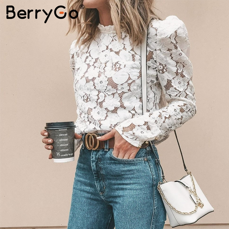 BerryGo Vintage Lace Blouse Women Shirt Sexy Hollow Out Embroidery White Blouse Tops Chic Puff Sleeve Mesh Office Ladies Blouses