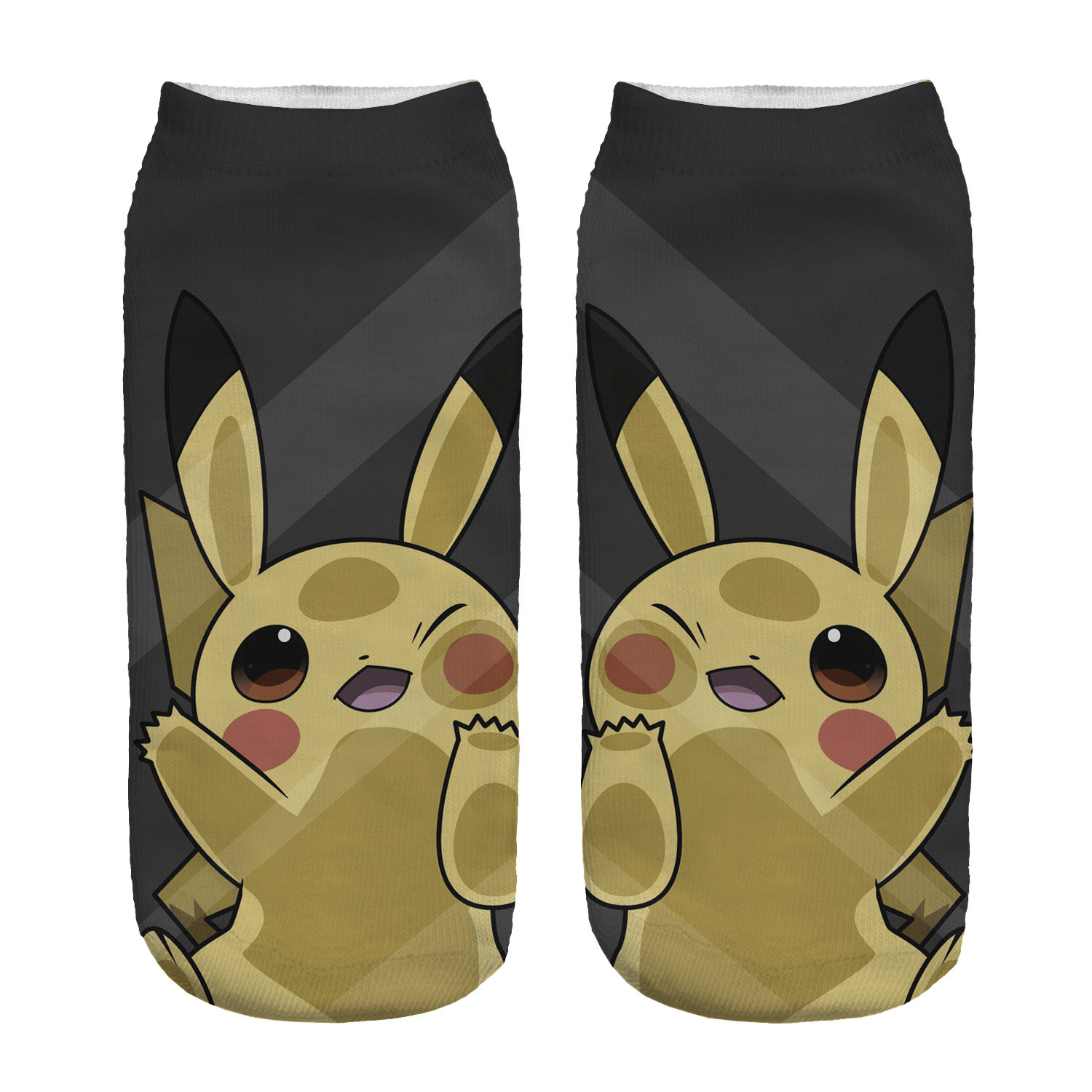 Kawaii Pokemon Black Pikachu Girl Cotton Socks Funny Woman Cute Socks Japanese Cartoon Printed Boy Short Socks