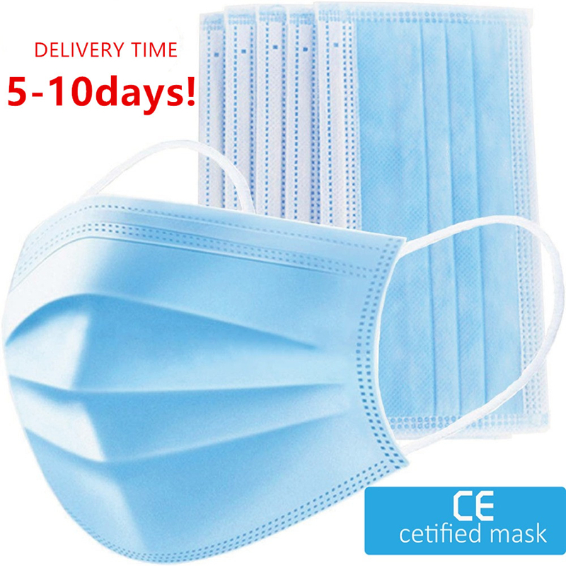 50pcs 100pcs 3-layer Mouth-muffle Disposable Masks Dustproof Anti-flu Civilian Protective Masks In Stock Disposable Face Mask#