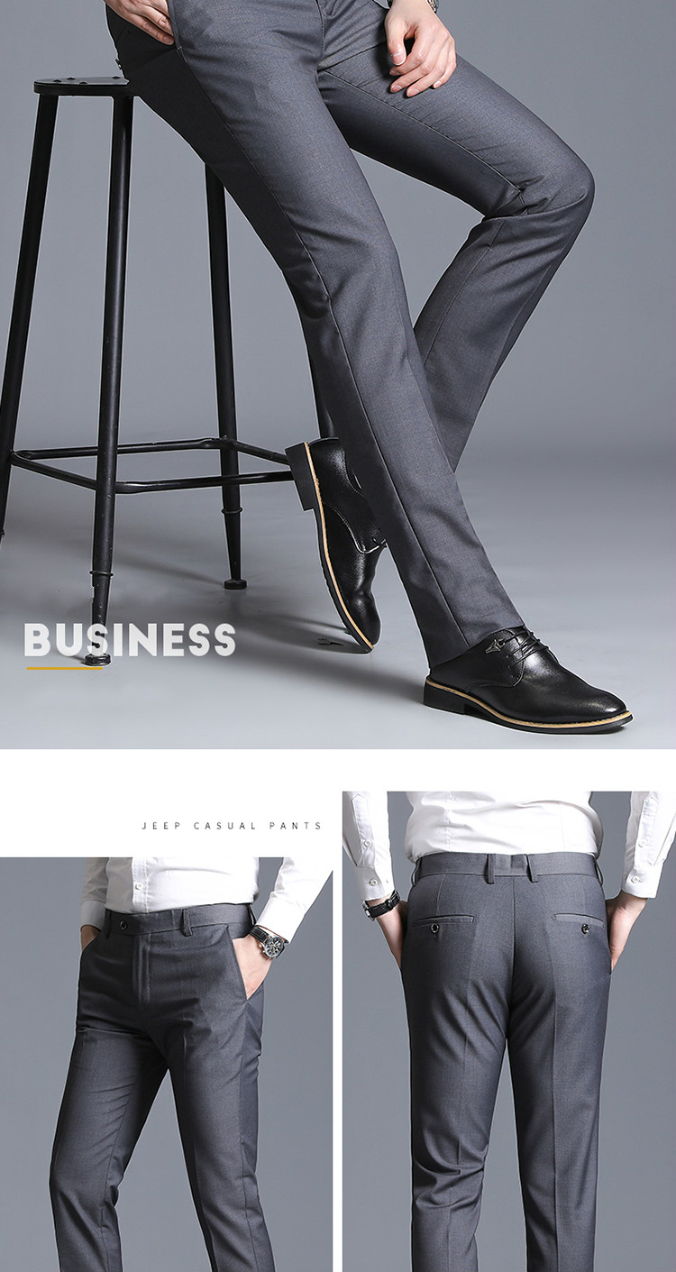 New Men Suit Pants Summer Men Dress Pants Straight Business Office Trousers Mens Formal Pants Classic Male Black Dress Trousers