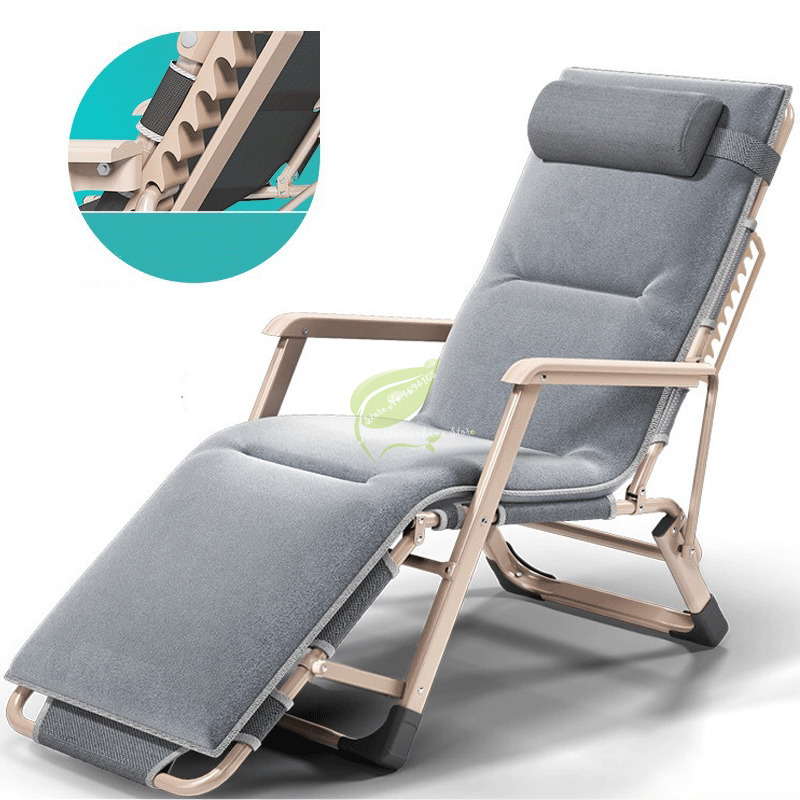 New Outdoor Or Indoor Adjustable Nap Recliner Chair Folding Deck Chair Beach Chair With Steel Pipe Frame Moisture Absorption