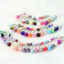 10 pçs/set Aço Inoxidável Umbigo Anel Piercing No Umbigo Bar Body Jewelry Barbell Curvo Com Padrão de Acrílico Bola
