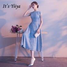Женское вечернее платье it's yiiya r233 голубое блестящее