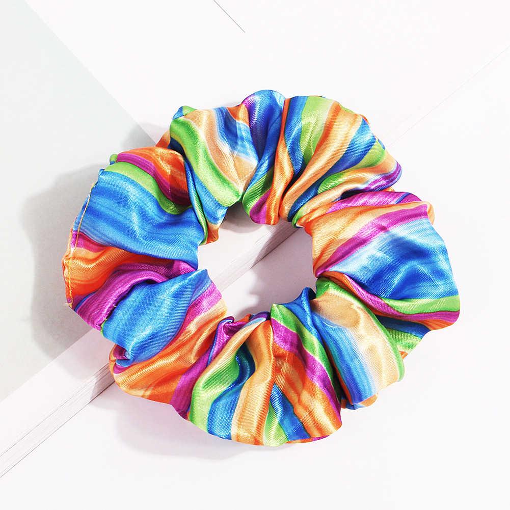 1 adet leopar gökkuşağı renk Scrunchie elastik saç bağları cilt dostu yaz saç aksesuarları kadınlar için saç bantları kızlar sıcak satış