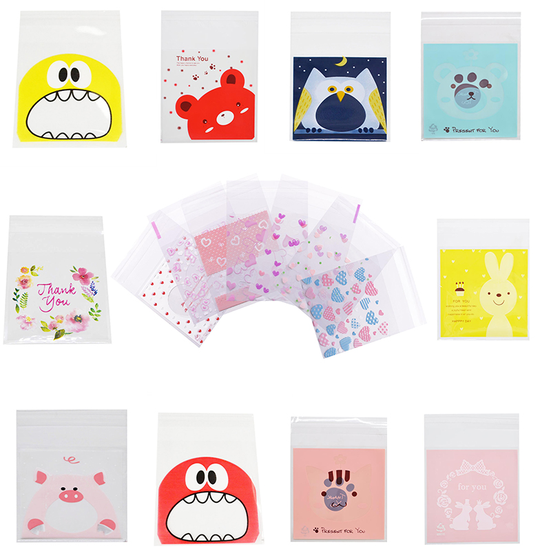 50pcs 7/10cm Gift Bags Cute Heart Cartoon Cookies Candy Packaging Self-Adhesive Plastic Bag For Wedding Birthday Party Supplies