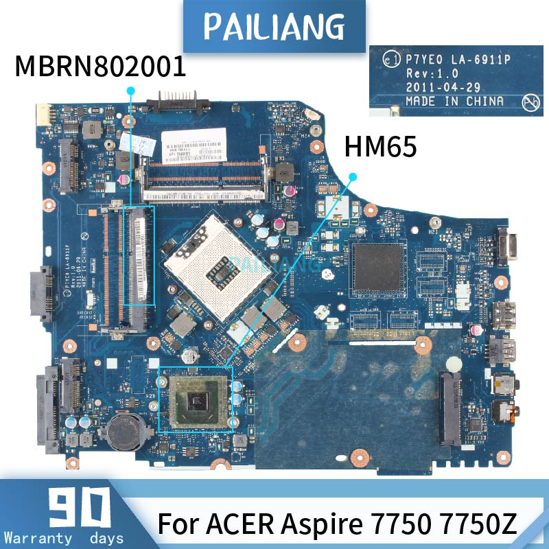 PAILIANG Laptop Motherboard For ACER Aspire 7750 7750Z HM65 Mainboard LA-6911P MBRN802001 Tesed DDR3