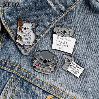 XEDZ cute koala enamel pin cartoon animal badge helpless mascot custom card card clothes bag lapel brooch jewelry gift to friend image