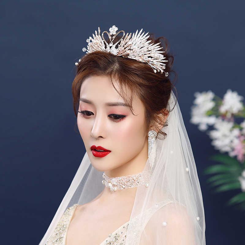 Barock Schwarz Luxus Braut Kristall Tiaras Kronen Prinzessin Pageant Prom Strass Schleier Tiara Hochzeit Stirnband Haar Zubehör