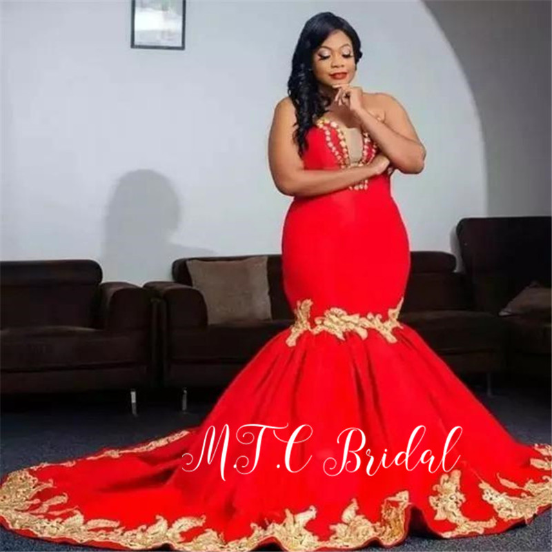 Plus Size   Prom     Dresses   2019 Gorgeous Red Mermaid Gold Appliques Long Formal   Dress   Customize Robe De Soiree Sirene