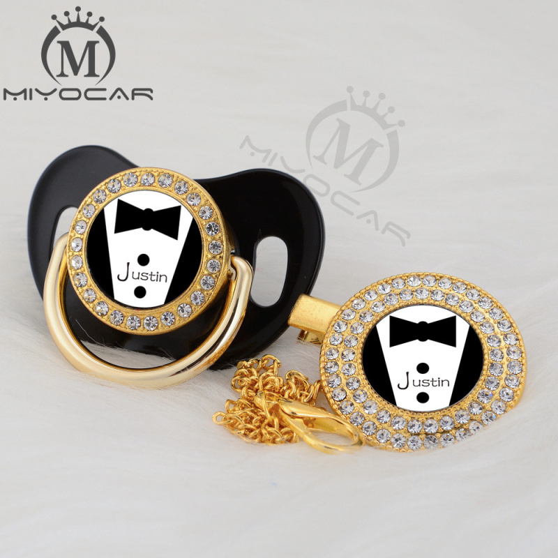 MIYOCAR custom any test cool handsome gold bling pacifier and pacifier clip black BPA free dummy bling unique design P-SR