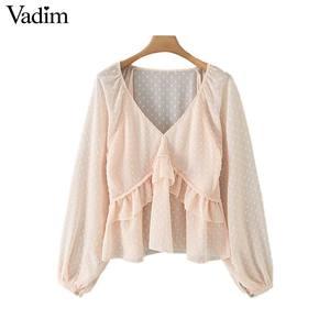 Image 1 - Vadim женская блузка в горошек с оборками, v образный вырез, длинный рукав фонарик, Женская Повседневная элегантная шикарная однотонные Блузы LB378