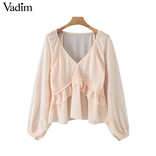 Vadim женская блузка в горошек с оборками, v образный вырез, длинный рукав фонарик, Женская Повседневная элегантная шикарная однотонные Блузы LB378
