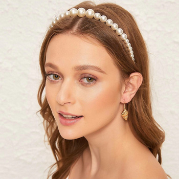 Gold Pearl Hairbands For Women Hair Accessories Designer Band Flower Hoops Bow Wedding Headband Metal Bridal Headwear Bands Clip 2