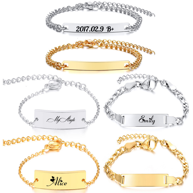 Personalize Baby Name Bracelet Figaro Chain Smooth Bangle Link Gold Tone No Fade Safty Jewelry 3