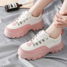Fashion Lace Up White Shoes Woman Running Walk Sneakers Plus Size 36-41 Women's Casual Vulcanize Flats Platform Sneakers Shoes woman sneakers metallic color woman shoes front lace up woman casual shoes low top rivets embellished platform woman flats brand