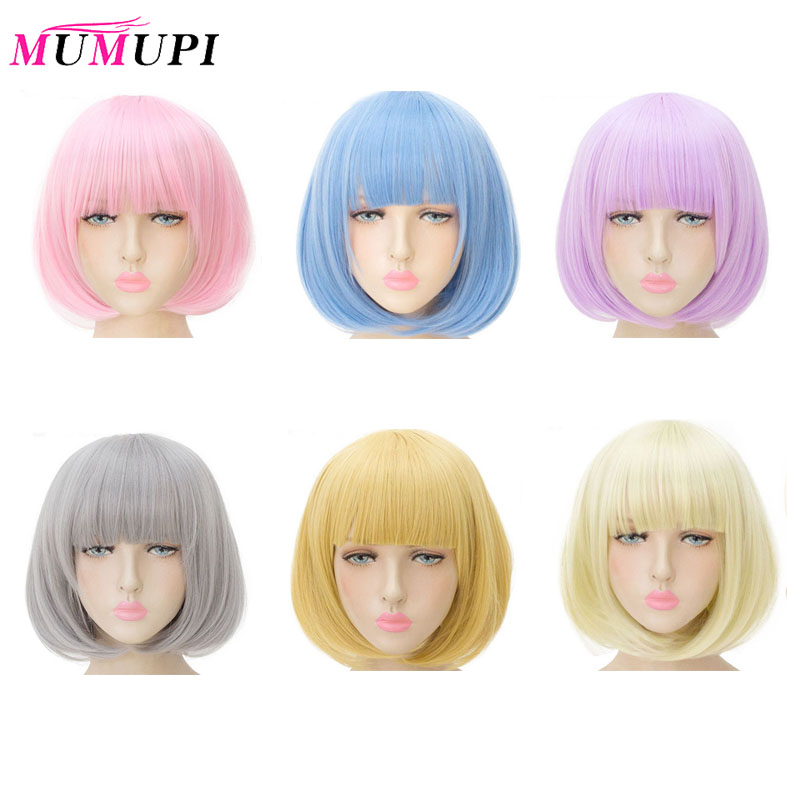 MUMUPI Synthetic 14inch Straight <font><b>Short</b></font> Bob <font><b>Wigs</b></font> Bangs Blue Golden Red Black White Purple <font><b>Pink</b></font> Green Brown Cos <font><b>Wig</b></font> Female image