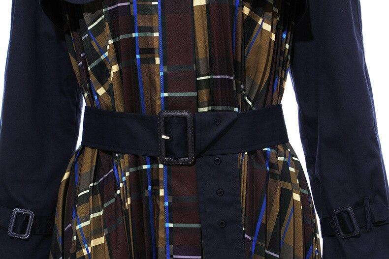 [EAM] Women Belt Pleated Hit Color Trench New Lapel Long Sleeve Loose Fit Windbreaker Fashion Tide Autumn Winter 19 1B096 34