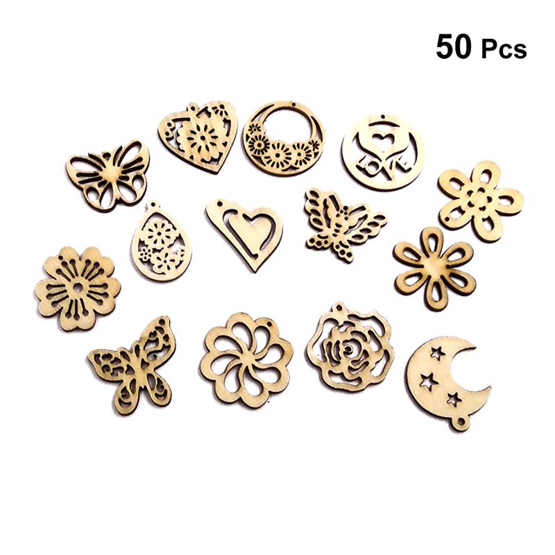 50x Assorted Wooden Buttons Scrapbooking Embellishment for Sewing DIY Craft