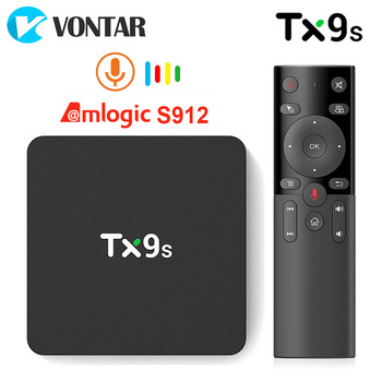 TX9s Android Smart TV Box Amlogic S912 2GB 8GB 4K 60fps TVBox 2.4G Wifi 1000M Netflix Youtube Google Assistant vocal PK S905X3 1