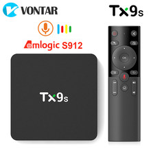 Tanix-decodificador de señal TX9s caja de Smart TV de Android, Amlogic S912, 2GB, 8GB, 4K, 60fps, Wifi 2,4G, 1000M, asistente de Google, voz