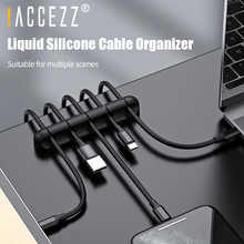 !ACCEZZ Cable Organizer Silicone USB Holder Wire Winder For Earphone Mouse Flexible Management Clips In Car Home