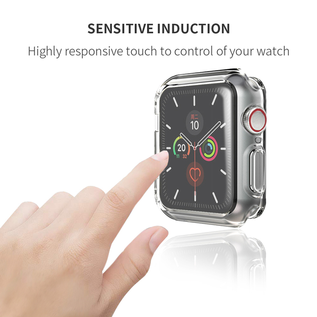 Slim Watch 360 Cover for Apple Watch Case 5 4 3 2 1 42mm 38mm Soft Clear TPU Screen Protector for iWatch 5 44mm 40mm accessories