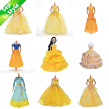 Yellow Wedding Dress Princess Evening Party Ball Long Gown Skirt Bridal Veil Costume Clothes For Doll Accessories Xmas Gift Toy(China)