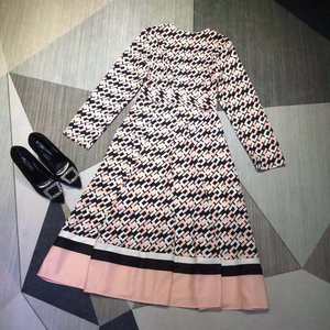 Image 5 - AELESEEN Vintage Letters Print Dress Womens Long Sleeve Spring Autumn Party V Neck Belt Pleated Ladies Runway Fashion Dress