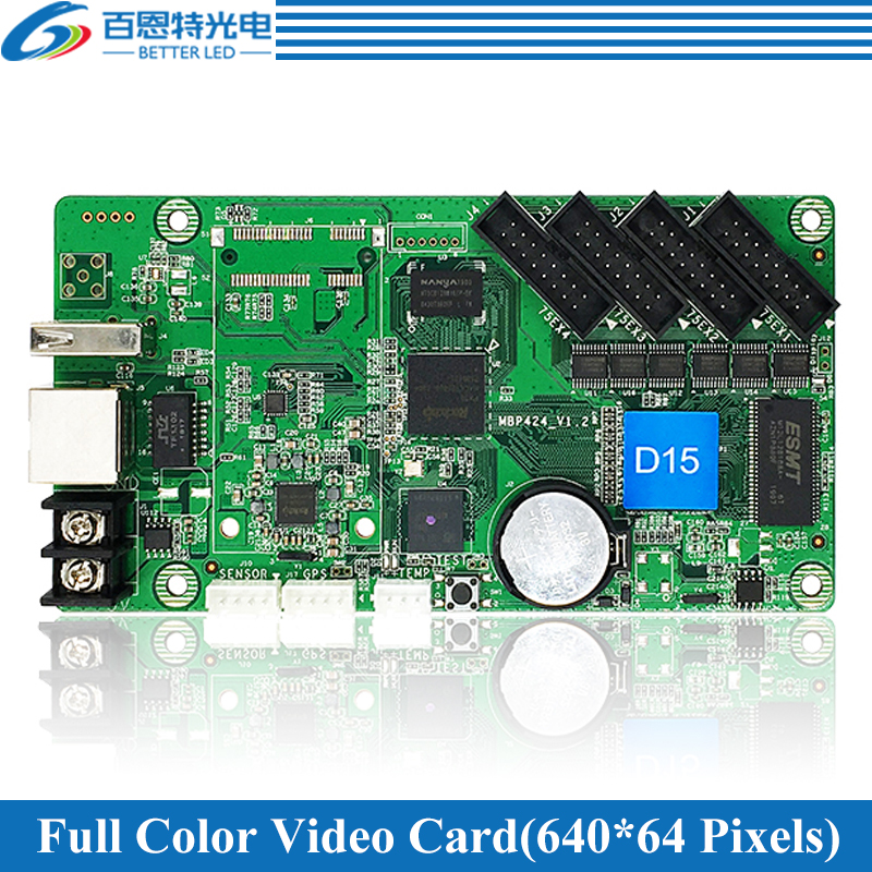 HD-D15(HD-D10) Asynchronous 640*64pixels(384*64 For HD-D10), 4*HUB75 Full Color LED Display Video Control Card