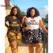 Clothing Plus-Size Tracksuit Shorts Women Summer Outfits T-Shirt Print-Hole 2pieces-Set