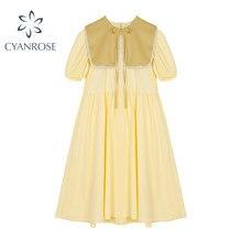 Robe courte avec châle pour femmes, tenue d'été ample et élégante, col rond, style Mori Girl, Vintage coréen, 2021