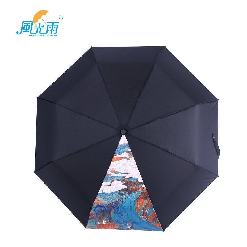 Origional Umbrella A Generation Of Fat 3D All-Weather Umbrella Three Fold Summer UV-Protection Black Umbrella Parasol Wholesale
