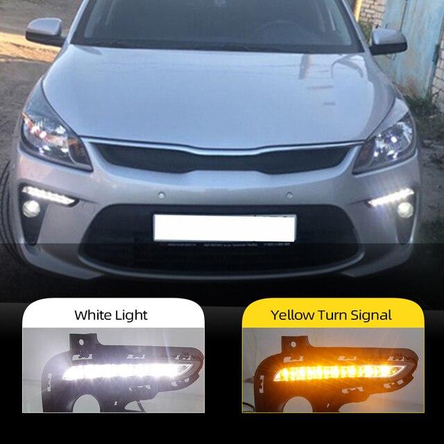 Car DRL 12V LED Daytime Running Light Daylight fog lamp For Kia Rio K2 2017 2018 Yellow Turning Signal Style Relay Waterproof
