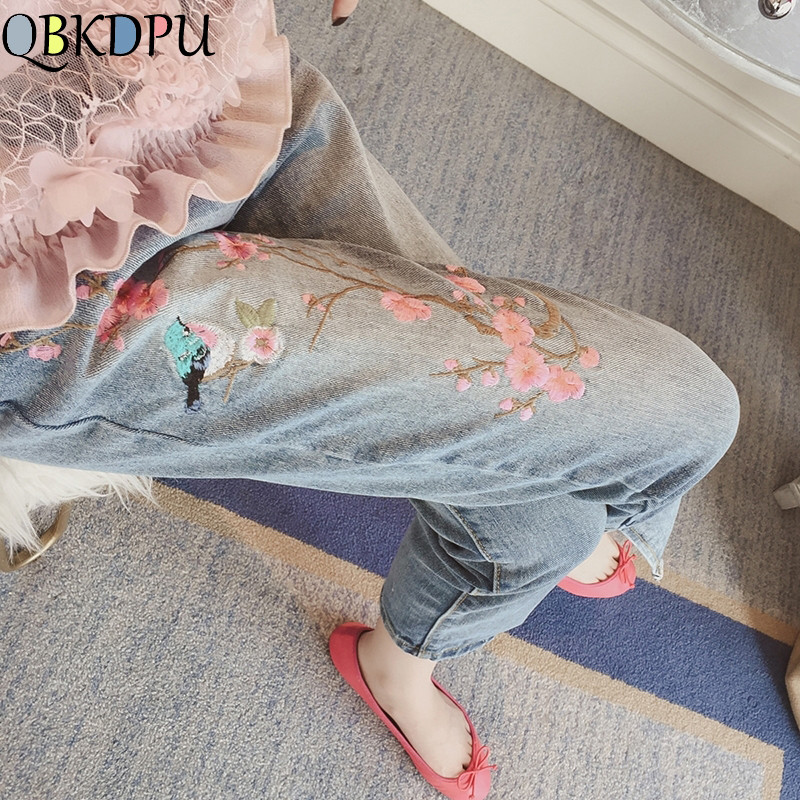 Floral Embroidery Ankle Length Jeans Elegant Women Light Blue Denim Pants High Waist Plus Size Straight Jeans Office Lady Wear
