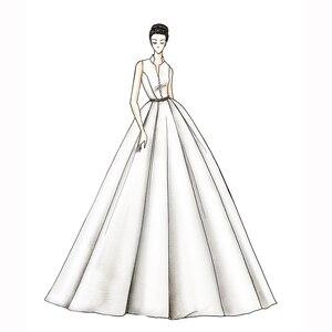 Image 2 - งาช้างแต่งงานกับกระเป๋า Vestido Noiva Elegant ซาตินแขนกุดชุดแต่งงานความยาวชุดเจ้าสาว 2020