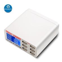 Multiport Hub USB inteligentny ładowarka szybkoładująca stacji inteligentny cyfrowy wyświetlacz 6 Port USB rozdzielacz ładowarki do smartfona szybkie ładowanie